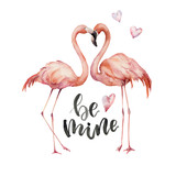 Watercolor Be mine card. Hand painted Flamingo couple  with hearts and lettering isolated on white background. Valentine's Day illustration for design, print, background - 240512306