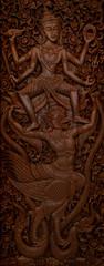 buddhistische Wandmalerei mit Struktur und Details - Thailand © marc