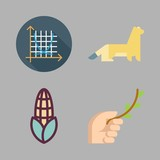 flora icon set. vector set about symmetry, ermine, branch and chestnut icon icons set.