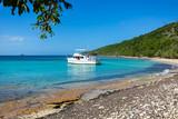 Private boat at seashore carribean vacation getaway