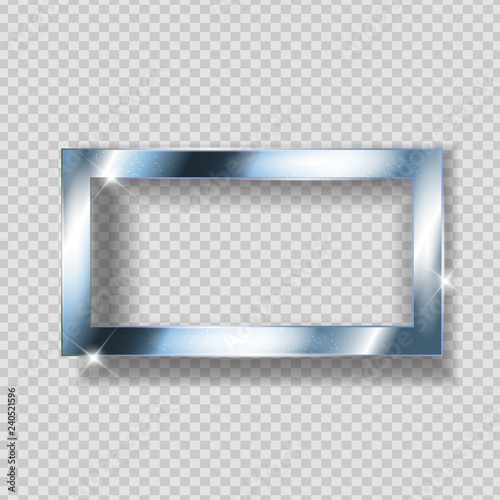 Silver Paint Glittering Textured Frame on Transparent Background. Vector Illustration