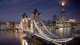 time lapse London skyline with illuminated Tower bridge in sunrise time, UK - 240522566