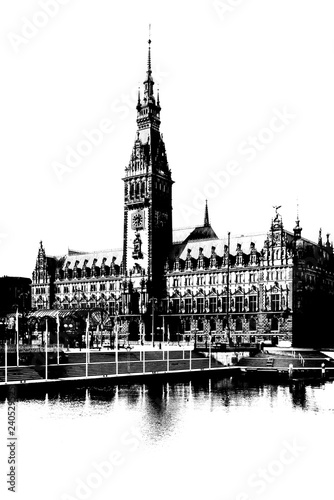 mata magnetyczna The city hall (Rathaus) in Hamburg, Germany, downtown on the Rathausmarkt square in graphic black and white, isolated on white background.