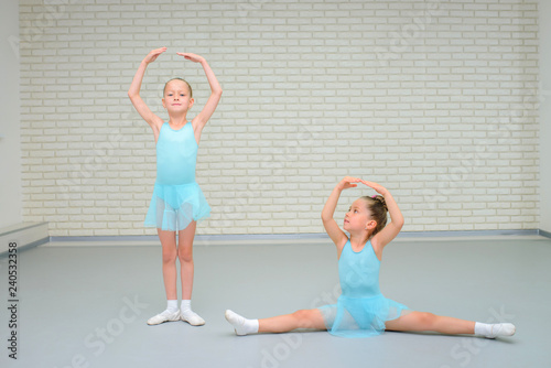 Little girls dancing ballet in studio. Young ballerinas gracefully posing at dance school, copy space © SergeyCash