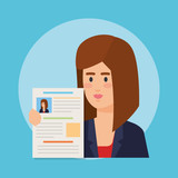 business woman with curriculum vitae - 240532512