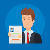business man with curriculum vitae - 240532521