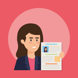 business woman with curriculum vitae - 240532527