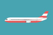 Overview Aircraft on the side isolated on background. Vector illustration