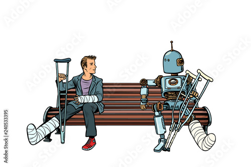 a robot and a man with broken legs with crutches and in a cast