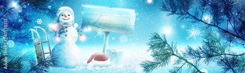 Leinwanddruck Bild Schneemann - Weihnachtsmotiv