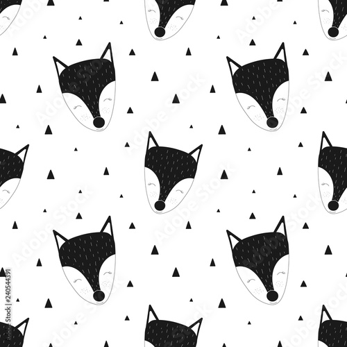 obraz PCV Seamless pattern of black and white fox. Vector scandinavian hand-drawn children illustration. For banner, postcard, textile, print, wrapping paper, poster, clothing, nursery, baby shower.