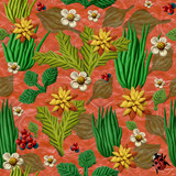 Seamless decorative texture, simulating grass and berries on an orange background, which is made of multi-colored plasticine