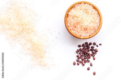 Colorful bath salt on white background top view. Coffee salt