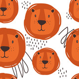 Muzzle of lions, hand drawn backdrop. Colorful seamless pattern with muzzles of animals. Decorative cute wallpaper, good for printing. Overlapping colored background vector