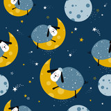 Sheeps and moon, seamless pattern