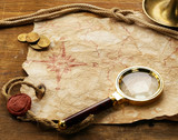 Vintage map and accessories for the treasure hunt and travel - 240554134