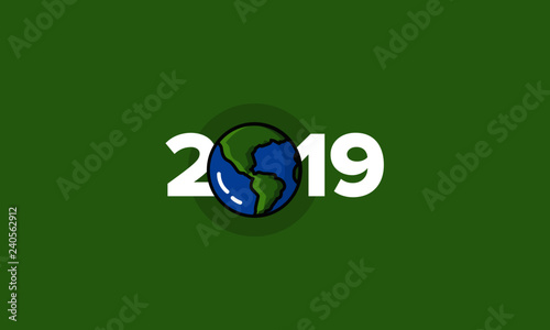 Year 2019 Typography Concept Design with Planet Earth Illustration