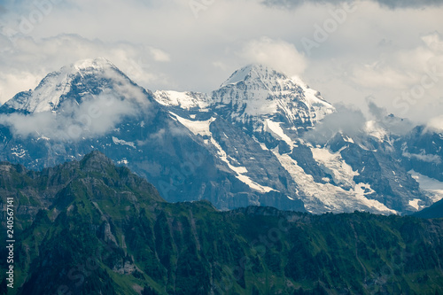 Snow covered mountain peaks in Switzerland