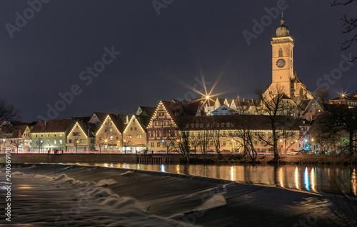 Leinwandbild Motiv Nürtingen at the Neckar River at night