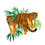 Two graphic tigers standing among the exotic leaves