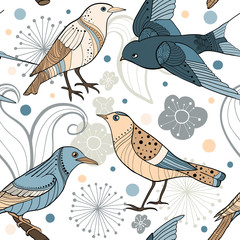 Seamless pattern with hand drawn birds