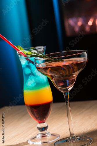 Two exotic cocktails in restaurant