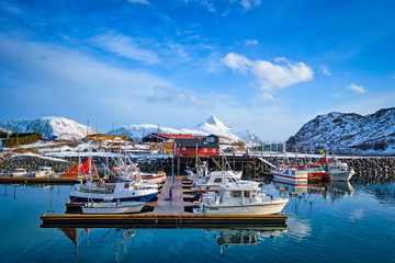 Fishing boats and yachts on pier in Norway © Dmitry Rukhlenko