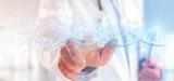 Doctor holding a 3d render DNA - 240582360