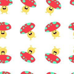 Seamless pattern with cute mushroom and funny cartoon on white background. Colorful vector illustration for fabric print, wallpaper, wrapping paper.