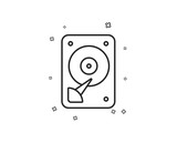 HDD icon. Hard disk storage sign. Hard drive memory symbol. Geometric shapes. Random cross elements. Linear HDD icon design. Vector - 240594104