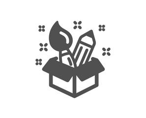 Creativity icon. Design idea sign. Brush and pencil symbol. Quality design element. Classic style icon. Vector © blankstock