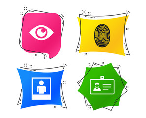 Identity ID card badge icons. Eye and fingerprint symbols. Authentication signs. Photo frame with human person. Geometric colorful tags. Banners with flat icons. Trendy design. Vector © blankstock