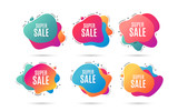 Super Sale. Special offer price sign. Advertising Discounts symbol. Abstract dynamic shapes with icons. Gradient banners. Liquid abstract shapes. Super sale vector - 240605707