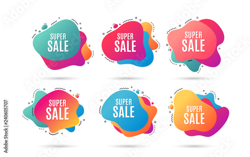 Super Sale. Special offer price sign. Advertising Discounts symbol. Abstract dynamic shapes with icons. Gradient banners. Liquid abstract shapes. Super sale vector