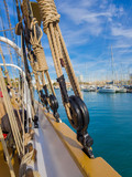 The dead eye and shroud. Standing rigging of a sailing ship. - 240606512