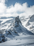 Aerial view of the beautiful snow covered mountains Alps in Austria, Picture taken in the mountains Tirol, Austria Europe