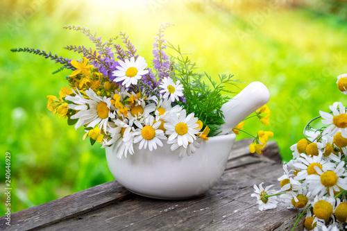 Leinwanddruck Bild Mortar of medicinal herbs and daisy healing herbs bunch outdoors.