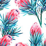 Bright green herbal tropical wonderful floral summer pattern of a pink protea flowers watercolor hand illustration. Perfect for textile, wallpapers, invitation, wrapping paper, phone case