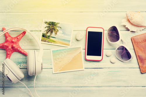 Travel vacation and music concept - 240652569