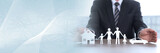 Concept of home, family and car insurance. panoramic banner