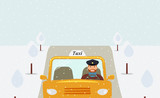 Taxi driver in a uniform cap driving a yellow taxi.Close-up front view. Winter: snow falls.Snow-covered trees along the road.Vector flat illustration - 240675991