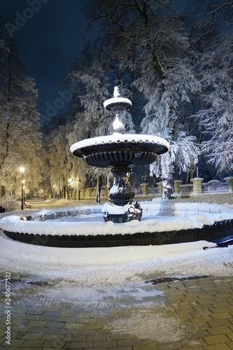 Beautiful snowy winter in Kiev, Ukraine, a lot of snow in the evening streets