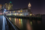 View on Clock tower at the pier at night  with long exposure
