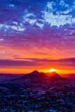 Red Sunset of Silhouetted Mountains