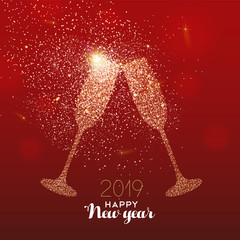New Year 2019 gold glitter glass toast card © cienpiesnf