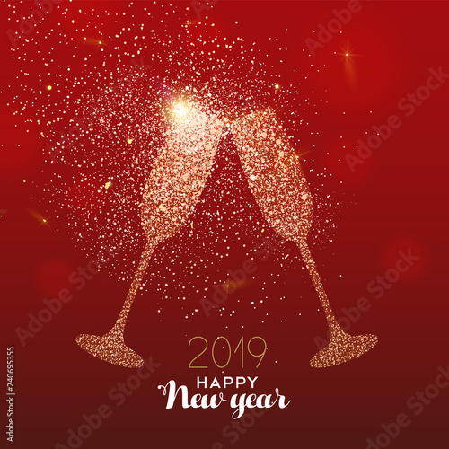 New Year 2019 gold glitter glass toast card