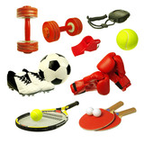 Sports attributes on a white background. Cup, tennis racket, ball, boxing gloves, stopwatch, whistle, soccer shoes and ball. Isolated on white