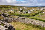 Mortarless stone walls and village on Inisheer Ireland