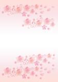 桜 水彩 手描き 背景 レッドピンク