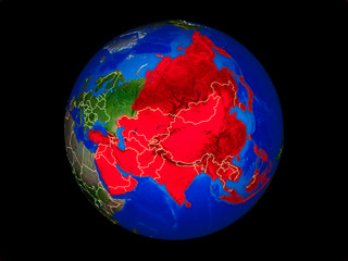 Asia on planet planet Earth with country borders. Extremely detailed planet surface.